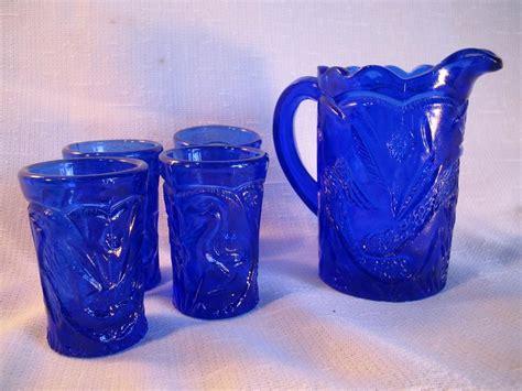 Antique Blue Glass L by Cobalt Blue Pressed Glass Peacock Bird Design Miniature