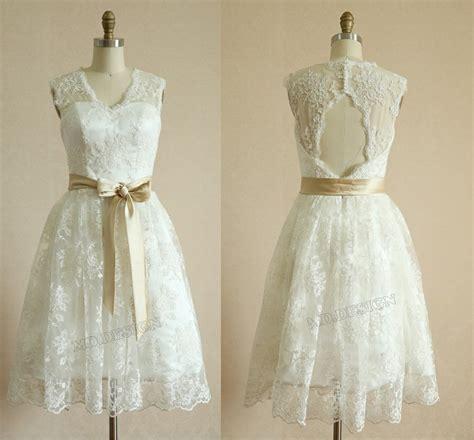 Vintage Short Lace Wedding Dress Keyhole Back Knee By