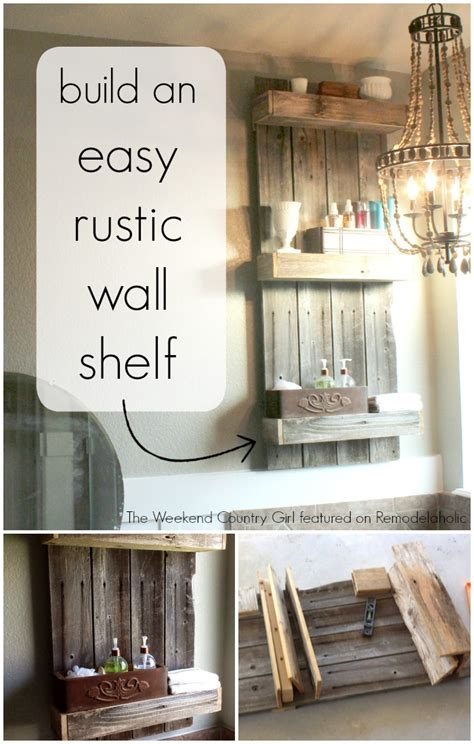 rustic wood bathroom shelves remodelaholic build an easy rustic bathroom shelf