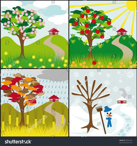 libro tree seasons come seasons four seasons tree on hill house stock vector 29025562 shutterstock