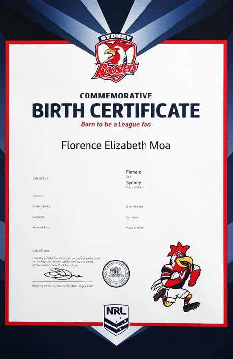 footy tipping template new nrl themed birth certificates available for diehard
