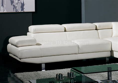 Adjustable Sectional Sofa T60 White Leather Sectional Sofa W Adjustable Headrests Arm