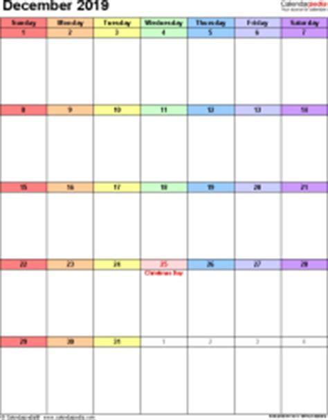 Calendar 2019 December December 2019 Calendars For Word Excel Pdf