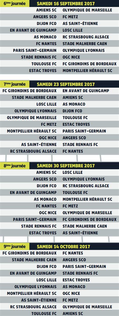 Calendrier Ligue 1 Psg Marseille Calendrier Ligue 1 Saison 2017 2018 Dates Et Horaires