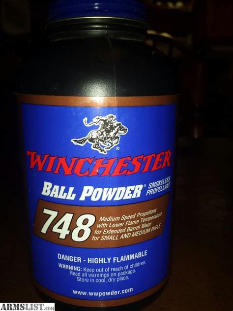 lubbock pound 1 unopened 1 pound container of winchester 748 smokeless powder