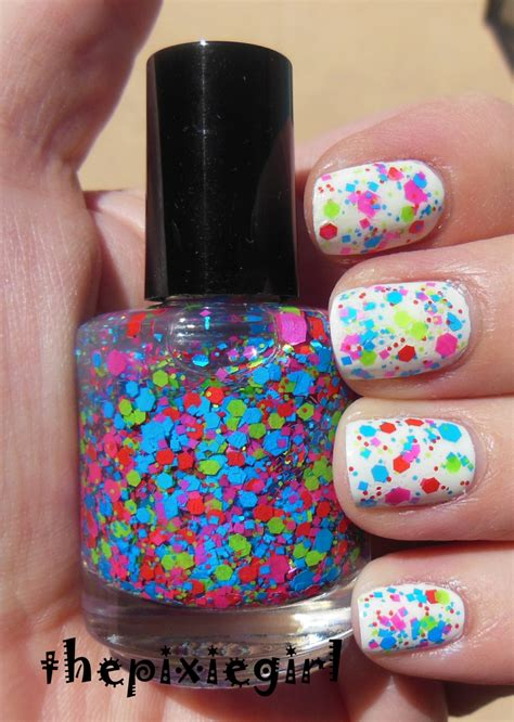 Glitter Nail Polishes by Bright Neon Glitter Nail Top Coat Lacquer