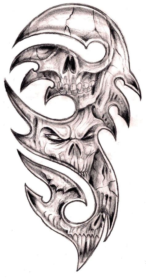 skull and tribal sleeve tattoos 85 best images about skulls on drawings
