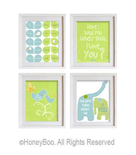 Lime Green Aqua Blue Room Decor Love Quote Elephants By Lime Green Nursery Decor