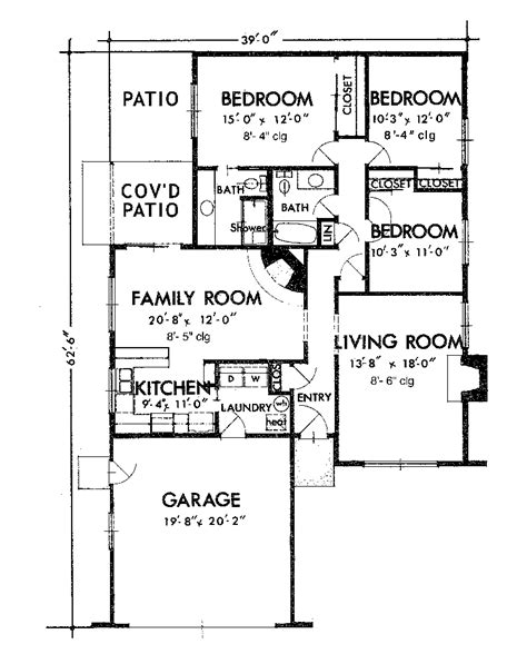 one story floor plan millfield one story home plan 072d 1005 house plans and more