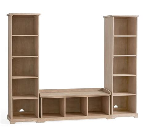 3 bench bookcase entryway set seadrift