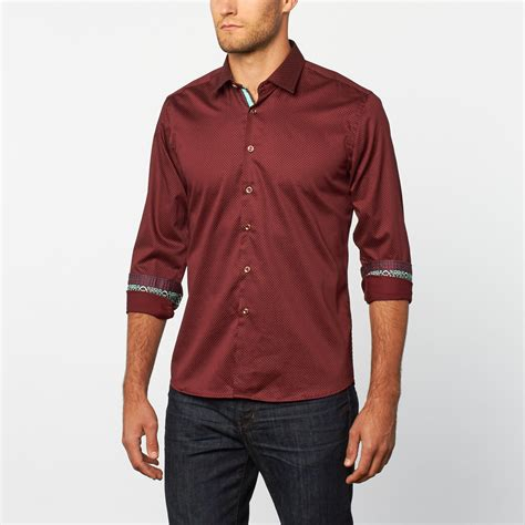 button up shirt burgundy dot s platini touch of