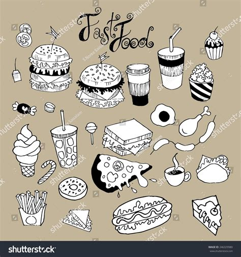 fast food doodle vector fast food doodle vector stock vector 246329980