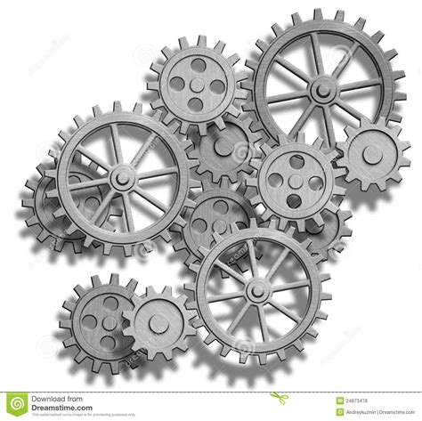 abstract mechanical gears on white engineering co stock