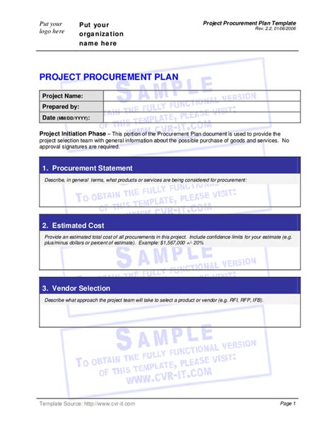 procurement management plan template doc project procurement plan template hashdoc