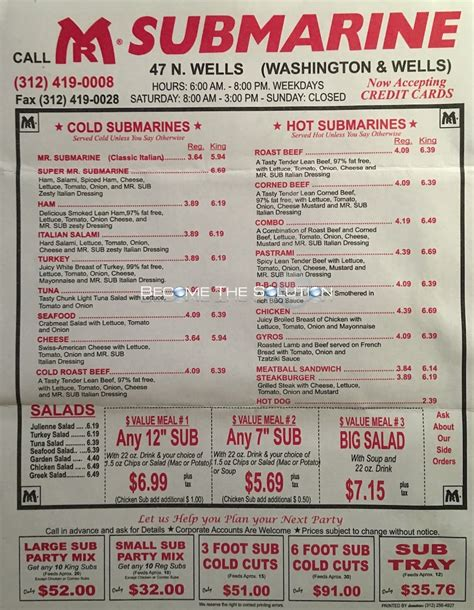 Submarine House Menu by Mr Submarine Carry Out Menu Chicago Scanned Menu With Prices