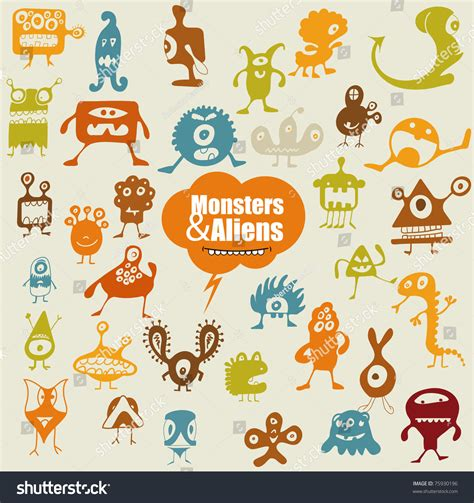 many doodle monsters vector many doodle monsters stock vector illustration