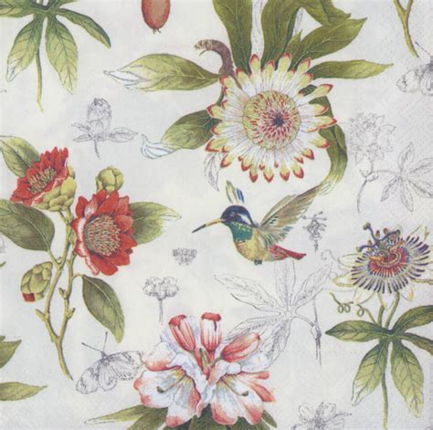 Decoupage Paper Flowers - decoupage paper napkins of flowers and hummingbird