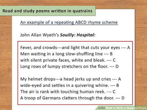 abcd pattern poem how to write a quatrain poem with sle quatrains wikihow