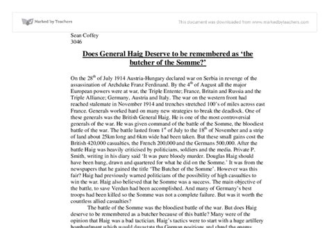 Lions Led By Donkeys Essay by Was Haig The Butcher Of The Somme Essay Mfawriting760 Web Fc2