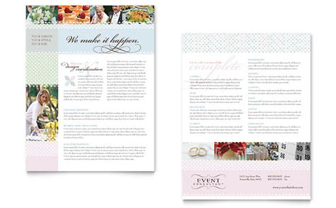 wedding planner brochure template wedding event planning datasheet template design