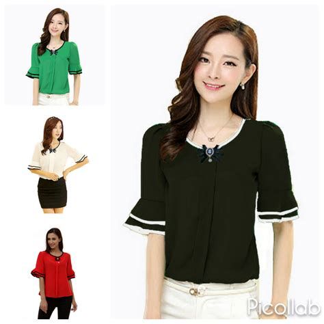 Pakaian Wanita Baju Wanita Baju Korea Atasan Blouse Ribbon Bac jual atasan baju pakaian blouse model korea wanita korean style blus bros dress