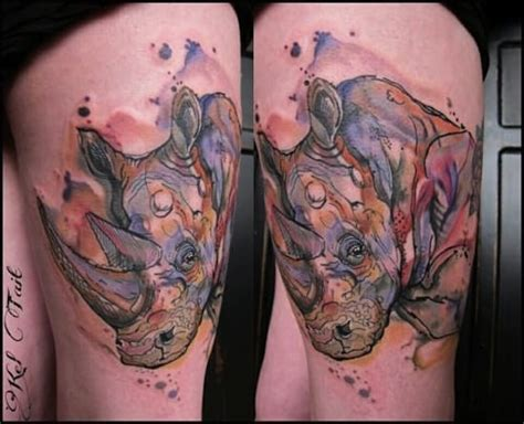 watercolor tattoos melbourne keep the legend alive with these powerful rhino tattoos