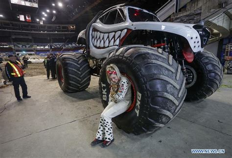 monster truck show vancouver monster jam show held in vancouver canada xinhua