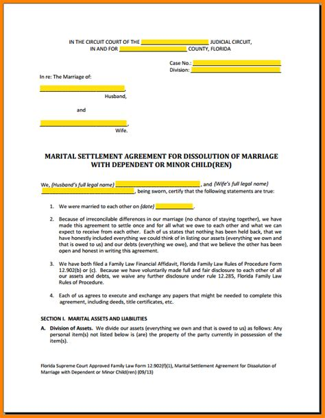 8 Divorce Settlement Agreement Form Instinctual Intelligence Marital Settlement Agreement Template