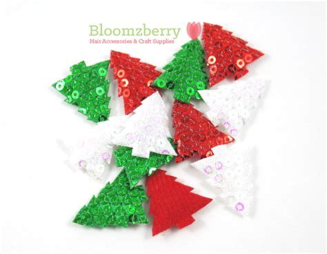 1 sequin christmas tree padded appliques christmas