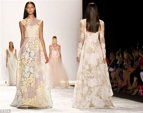 Monique Lhuillier's NYFW show dominated by princess worthy evening gowns   Daily Mail Online