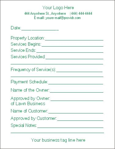 Free Printable Lawn Care Contract Form Generic Lawn Care Service Contract Template