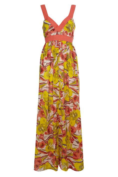 Maxi Flower Leaf Yellow new connection tahiti floral maxi dress yellow ebay
