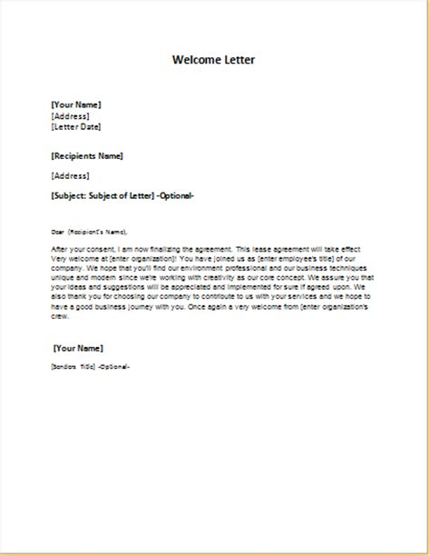 welcome letter templates for ms word formal word templates