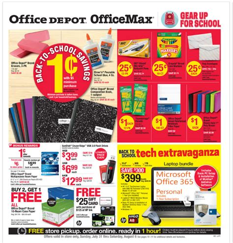 Office Depot Coupons 1 Cent Office Depot Office Max Back To School Deals