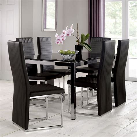Dining Table Glass Top 6 Chairs tempo 160cm glass top dining table with 6 chairs next day delivery tempo 160cm glass top
