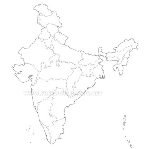 An Outline Political Map Of India by Blank Political Map Of India Hd Free Printable Graphics