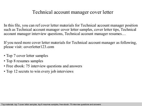 Account Manager Cover Letter technical account manager cover letter