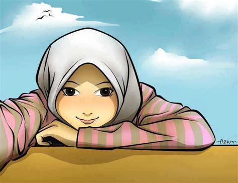 akhwat melamun kartun dakwah islam kumpulan gambar