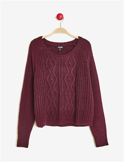 Pull And Pull Court Maille Textur 233 E Prune Femme Jennyfer