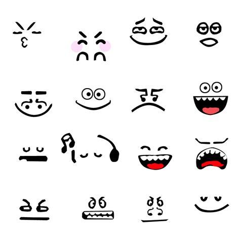 doodle wajah daftar kata yang berhubungan dengan ekspresi sehari hari