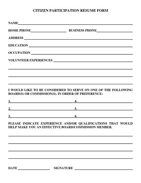 Resume Form by Best Photos Of Free Resume Forms Can Print Free Resume