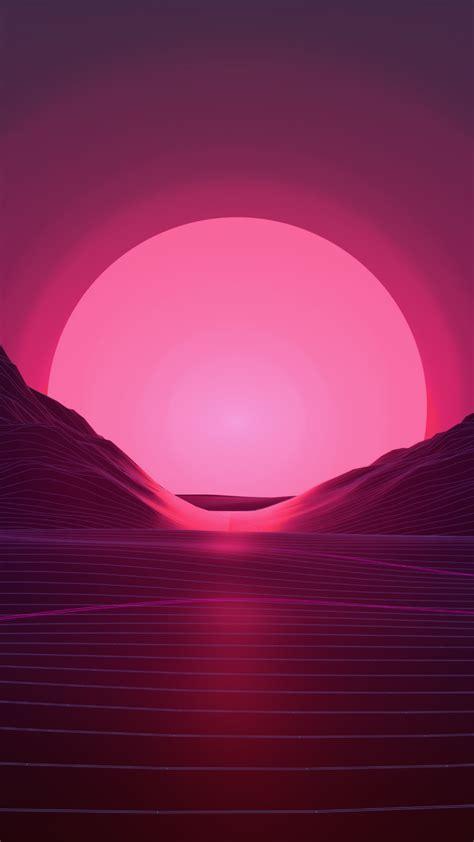 wallpaper retrowave lines sunset  art