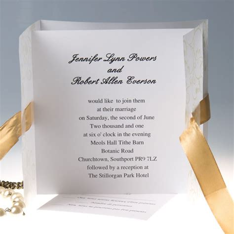 Elegant gold ribbon gate fold wedding invitations EWRI005 as low as $1.69