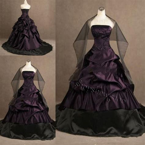 custom wedding dress custom gothic ball gown purple and black plus size wedding