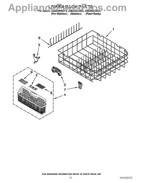 Jenn Air Dishwasher Replacement Racks by Parts For Jenn Air Jdb3600awp5 Lower Rack Parts Appliancepartspros