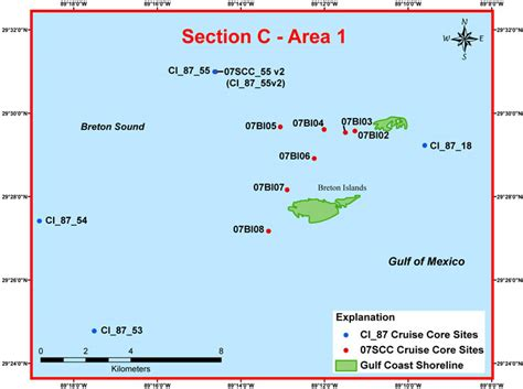 c study section study area map section c area 1 archive of sediment