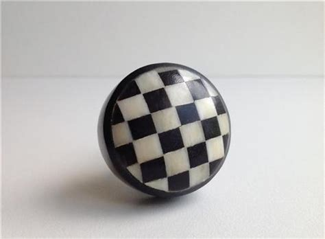black and white checks on bone resin cabinet knobs dresser