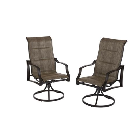 Hton Bay Statesville Pewter Swivel Aluminum Sling Outdoor Swivel Dining Chairs