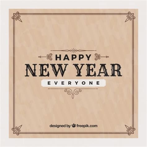 happy new year everyone vintage background vector free