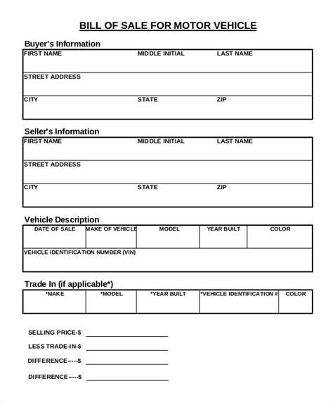 printable vehicle bill of sale template printable bill of sale sle 8 exles in pdf word